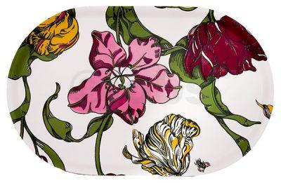 Oval bricka Tulpaner i färg (natur)